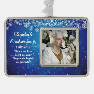 Memorial Photo Template Christmas Xmas Blue Christmas Ornament