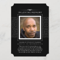 Memorial Photo Thank You Card - Elegant Black