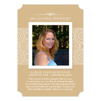 Memorial Photo Thank You Card- Elegant Gold 5x7 Paper Invitation Card