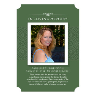 Memorial Photo Thank You Card- Elegant Green 5x7 Paper Invitation Card