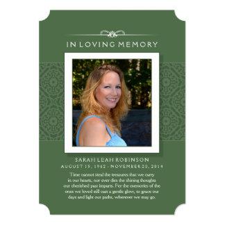 "Memorial Photo Thank You Card- Elegant Green 5"" X 7"" Invitation Card"