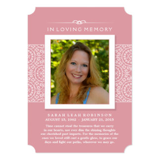 Memorial Photo Thank You Card- Elegant Pink