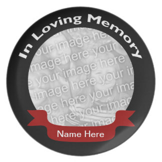Memorial Plate - Black with Red Ribbon