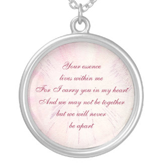 Memorial Poem Silver Plated Necklace