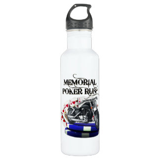 Memorial Poker Run Style Stainless Steel Water Bottle