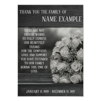 Memorial Poster A bouquet of white roses monochrom