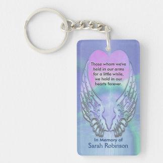 Memorial | Rainbow Heart Angel Wings Double-Sided Rectangular Acrylic Keychain