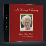 """Memorial Remembrance Books - Personalized Binder<br><div class=""""desc"""">This lovely memorial remembrance book binder features your loved one&#39;s photo below the words &quot;In Loving Memory.&quot; Dates are featured below the photograph. The design is featured on a lovely burgundy background with a black spine with the words &quot;Forever Loved&quot; on it. This plastic binder makes a lovely memorial remembrance...</div>"""