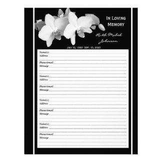 Memorial Remembrance Orchid Guest Book Filler Page Letterhead