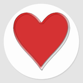 Memorial round edged heart classic round sticker