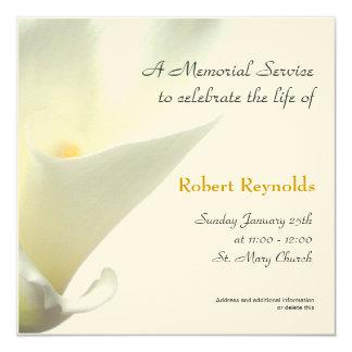"""Memorial Service Announcement 5.25"""" Square Invitation Card"""