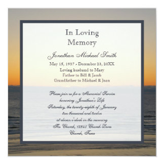 "Memorial Service Announcement Invitation 5.25"" Square Invitation Card"