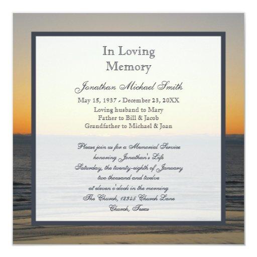 """Memorial Service Announcement Invitation 5.25"""" Square Invitation Card"""