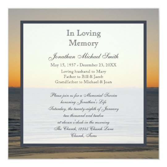 Memorial Service Announcement Invitation | Zazzle.com