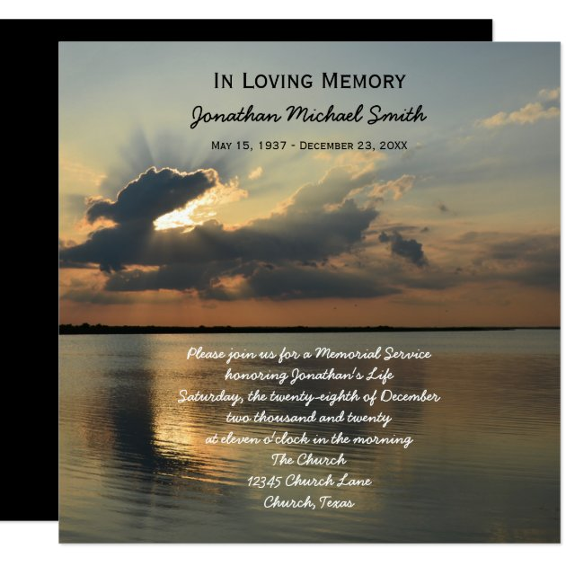 Memorial Service Announcement Invitation Sunset Zazzle