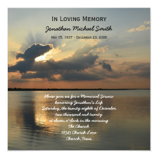 "Memorial Service Announcement Invitation -- Sunset 5.25"" Square Invitation Card"
