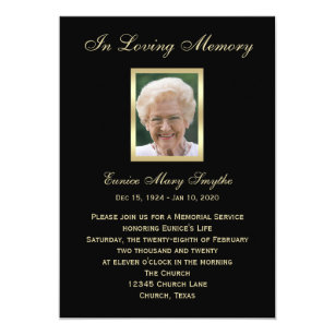 Memorial Service Announcement Invitations   Photo