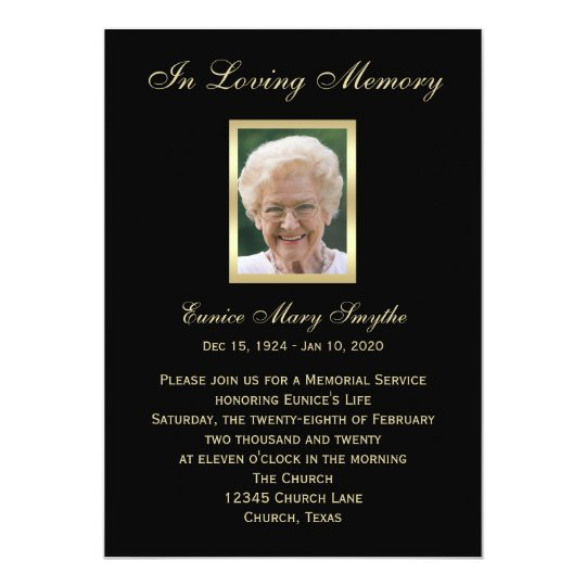 memorial service announcement invitations photo zazzle com
