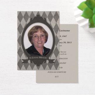 memorial service announcments business card