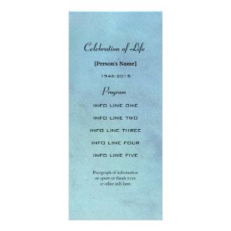 Memorial service blue watercolor program card