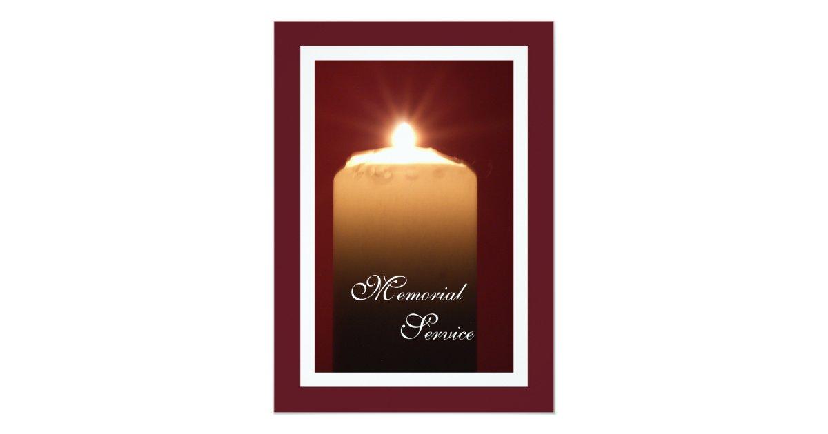 Memorial Service Candle Invitation Announcement Zazzle Com