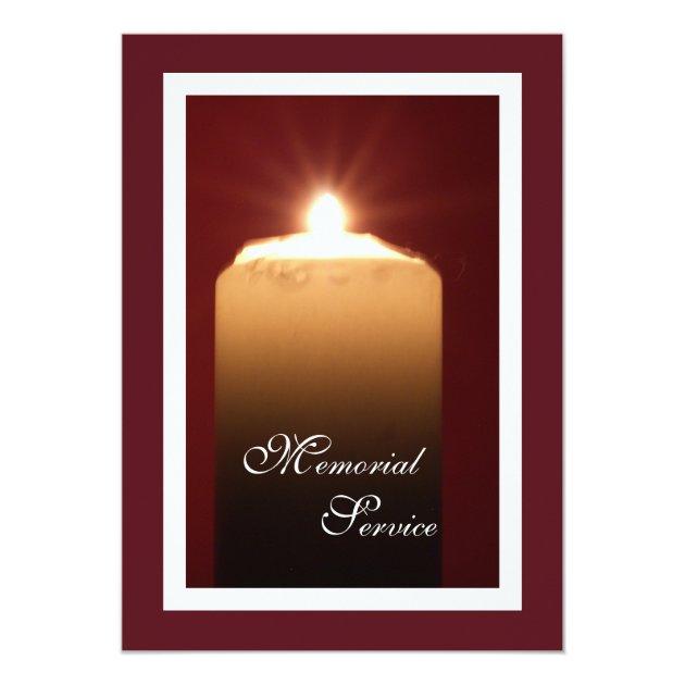 memorial service candle invitation announcement