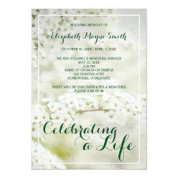 Death anniversary invitations announcements zazzle memorial service celebrating a life babys breath card stopboris Gallery
