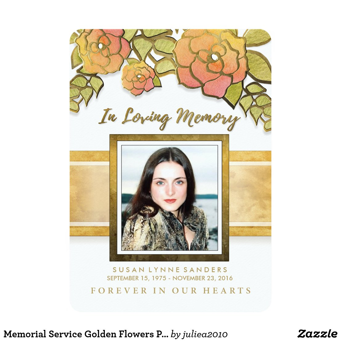 Memorial Service Golden Flowers Photo Invitation
