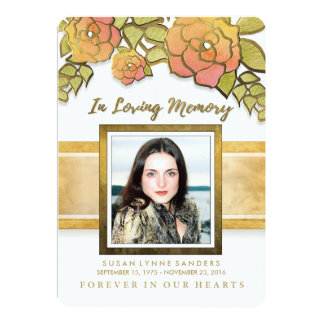 Memorial Service Golden Flowers Photo Invitation