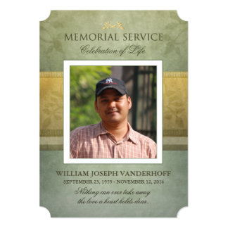 Memorial Service Green Gold Elegance Photo Invite