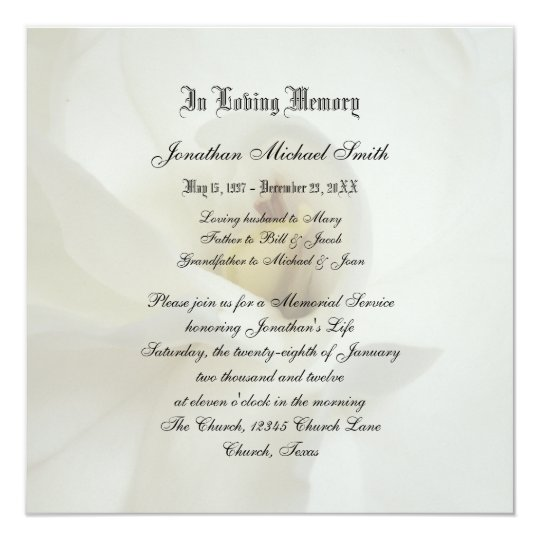 memorial service invitation announcement zazzle com