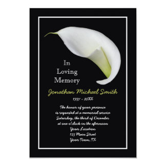 "Memorial Service Invitation Announcement Template 5"" X 7"" Invitation Card"