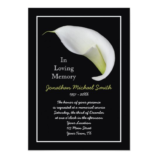 Memorial Service Invitation Announcement Template Zazzle Com