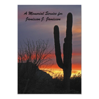 "Memorial Service Invitation, cactus at Sunset 5"" X 7"" Invitation Card"