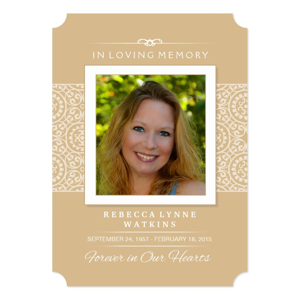Memorial Service Invitation - Elegant Gold & White