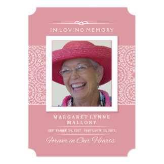 Memorial Service Invitation - Elegant Pink & White
