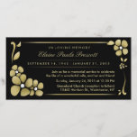 """Memorial Service Invitation - Gold &amp; Black Floral<br><div class=""""desc"""">Memorial Service Invitation - Gold &amp; Black Floral Photo Card Art &amp; Design by Julie Alvarez Invite your family &amp; friends to a memorial service or celebration of life get together with this black and gold floral &quot;in loving memory &quot; invitation. This invitation is easy to customize and is printed...</div>"""