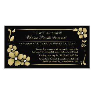 Memorial Service Invitation - Gold & Black Floral Photo Card