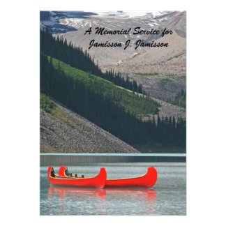 Memorial Service Invitation, Mountain Canoes