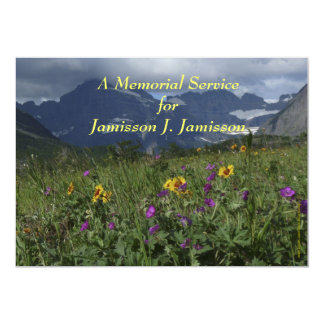 "Memorial Service Invitation Mountain Wildflowers 5"" X 7"" Invitation Card"