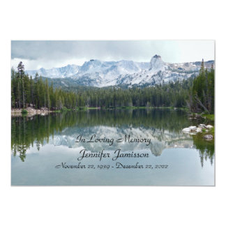 Memorial Service Invitation, Mountains and Lake Card