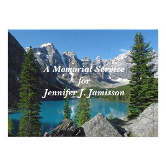 Memorial Service Invitation Mountains Lake