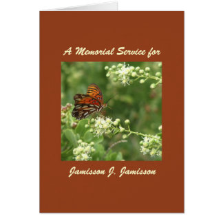 Memorial Service Invitation, Orange Butterfly Greeting Card