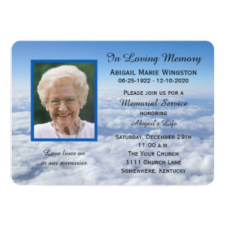"Memorial Service Invitation Photo in Clouds 5"" X 7"" Invitation Card"