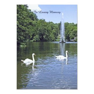 Memorial Service Invitation, Swans and Fountain Card
