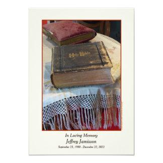 Memorial Service Invitation, Vintage Bible 5x7 Paper Invitation Card