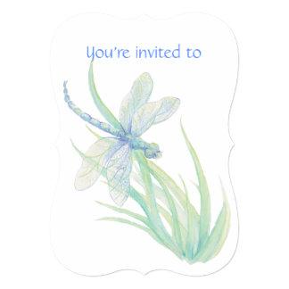 Memorial Service Invite Dragonfly Watercolor Art
