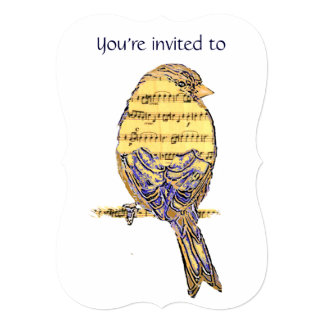 "Memorial Service Invite Music with Bird 5"" X 7"" Invitation Card"