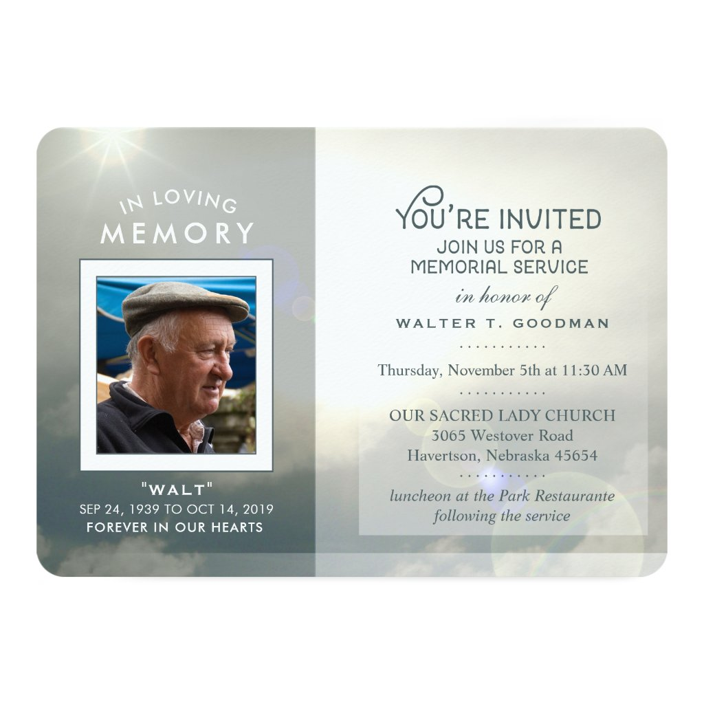 Memorial Service Invite Peaceful Clouds Blue White