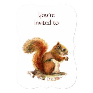 """Memorial Service Invite Squirrel Animal Art 5"""" X 7"""" Invitation Card"""